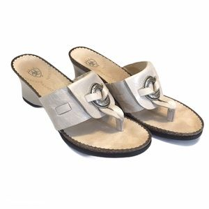 Ariat Flare Wedge Thong Sandals Silver Ring 9